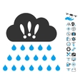 Thunderstorm Rain Cloud Icon With Air Drone Tools vector image