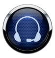 Blue honeycomb headset icon vector image