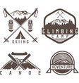 skiing canoe and adventure camp vintage labels vector image