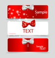 Set of card notes with beautiful gift bows vector image