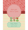 baby arrival card with photo frame vector image vector image