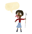 cartoon woman with spear sticking out tongue with vector image