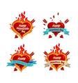 burning hearts set vector image