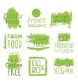 Farm Vegan Food Green Set Of Label vector image