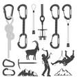 set of alpine climbing equipment silhouette icons vector image