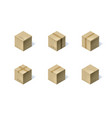 set of six isometric cardboard boxes isolated on vector image