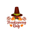 thanksgiving day icon of pilgrim hat autumn leaf vector image