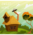 summer landscape with little house and tree vector image