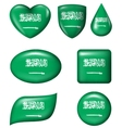 Saudi Arabia flag in various shape glossy button vector image vector image