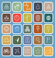 Location line flat icons on blue background vector image