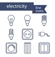 Set of line icons for DIY electricity tools vector image