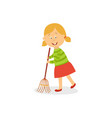 funny little girl sweeping floor with big broom vector image