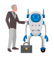 human and robot cooperation isolated vector image