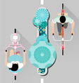 People riding a bicycle on street top view vector image