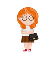 Smiling little girl in glasses with ladies bag vector image