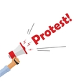 Protestor hand holding bullhorn shouting protest vector image