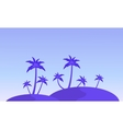 Silhouette of hill and clump palm landscape vector image