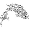 fish zentangle style coloring book for adult and vector image