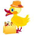 Fashionable duckling with product vector image