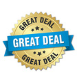 great deal 3d gold badge with blue ribbon vector image
