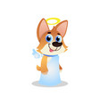 cute corgi in white angel costume with wings and vector image