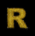 gold dust font type letter r vector image