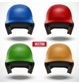 Set of multicolor Baseball helmets front view vector image