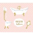 Luxurious Bathroom bathroom doodles in vintage vector image