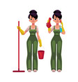 cleaning service girl in overalls holding mop vector image