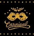 Shimmering Carnival Mask with Golden Dust on Dark vector image vector image