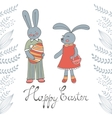 Happy Easter card with cute Easter bunnies vector image