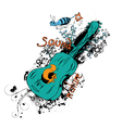 vintage t-shirt design with guitar vector image vector image