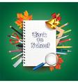 school notebook tools background vector image