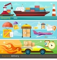 Shipping delivery car ship plane vector image