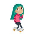 smiling little girl riding on skateboard vector image