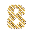 Striped latin alphabet number 8 Hatching font vector image