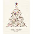 Vintage Christmas tree greeting card vector image