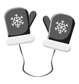 Mittens with snowflake icon gray monochrome style vector image