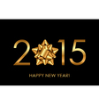 2015 Happy New Year background with gold bow vector image vector image