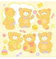 Set teddy bears in rznyh poses with toys and vector image
