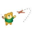 Little bear playing airplane vector image