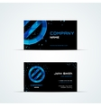 Business card template with blue sign vector image vector image