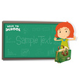 Back to school theme with girl and bag vector image vector image