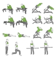 Set of systematic bodybuilding exercises vector image