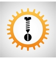 construction gear icon screw bolt vector image