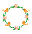 floral wreath birds flowers natural decoration vector image