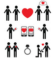 Gay man Falling in love and engagement icons vector image