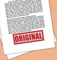 Original Rubber Stamp White Paper vector image