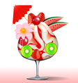 ice cream with strawberry kiwi cherry tree and flo vector image vector image