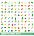 100 south korea icons set isometric 3d style vector image